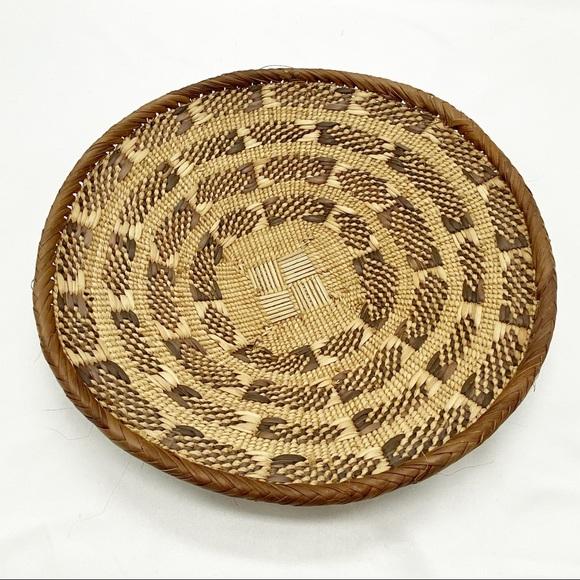 "SOLD Vtg Straw Brown Tan Woven Decorative Bowl 10"""